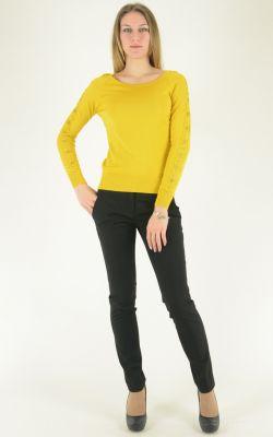 ярко-желтый джемпер с драпировкой