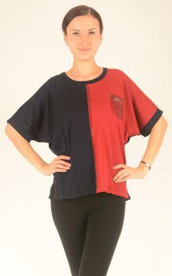 сине-красный джемпер с рукавом летучая мышь