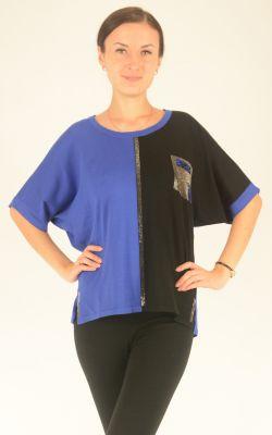 черно-синий джемпер с рукавом летучая мышь