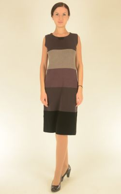 платье без рукава в широкую полоску