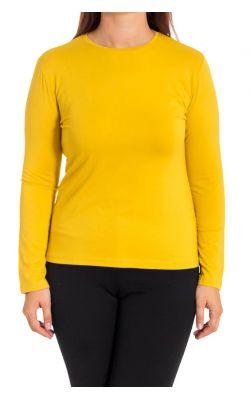 желтая трикотажная блуза с длинным рукавом
