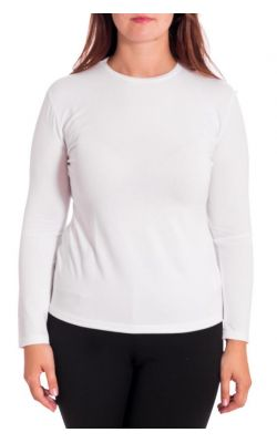 белая трикотажная блуза с длинным рукавом