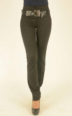 черные молодежные брюки Vangeliza с широким ремнем
