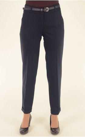 темно-синие укороченные брюки Vivento с отворотом