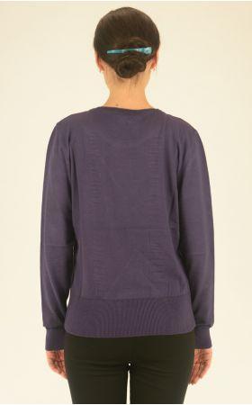 фиолетовый джемпер с длинным рукавом