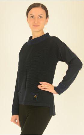темно-синий джемпер с свободным воротником стойка