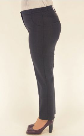 узкие укороченные серо-синяя клетка брюки