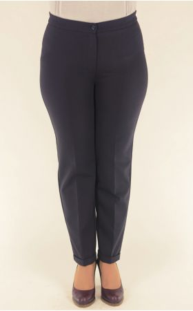 темно-синие брюки укороченные с отворотом