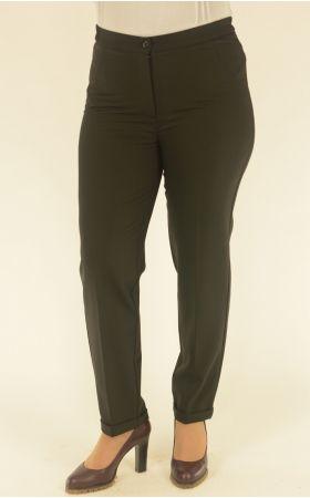 черные брюки укороченные с отворотом
