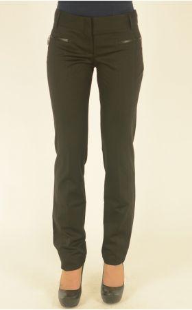 черные брюки Nadin отделка кожей