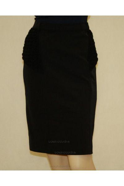 Замечательная женская юбка до колена с красивыми вставками., фото 1