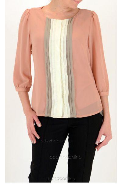 розовая блуза из шифона