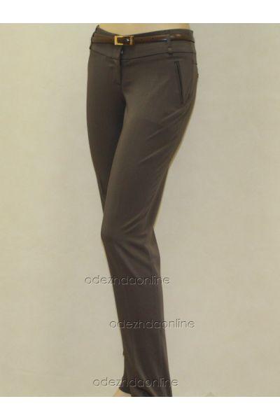 Стильные узкие женские брюки полной длины со средней посадкой., фото 1