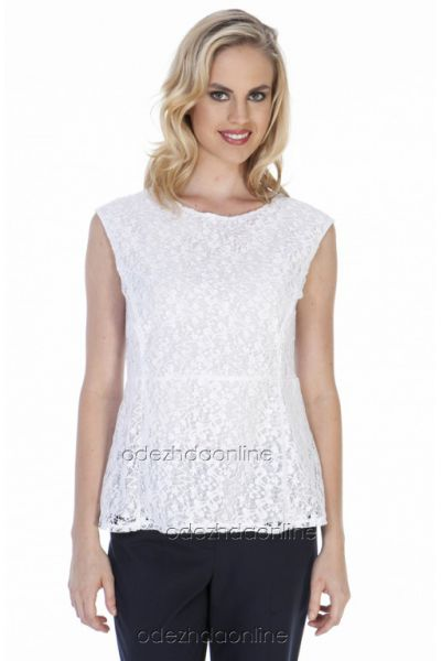 белая блуза из кружева без рукава