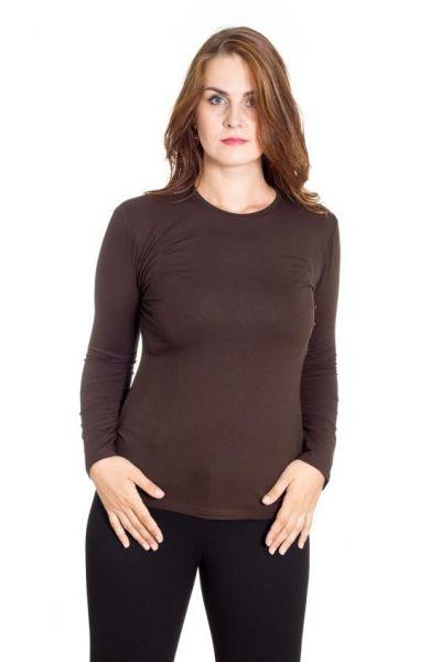 коричневая трикотажная блуза с длинным рукавом