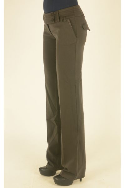 шоколадные классические брюки низкая посадка
