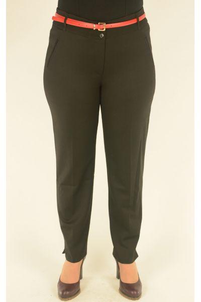 черные укороченные брюки Vivento с красным ремнем