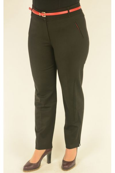 черные брюки 7/8  Vivento с красным ремнем