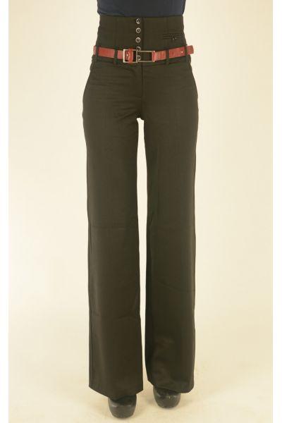черные молодежные брюки Vangeliza с высокой талией